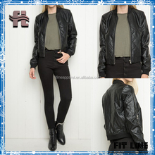 Womens New Winter Motorcycle Bomber Jacket Pu leather Jacket With Ribbing Cuffs And Hem