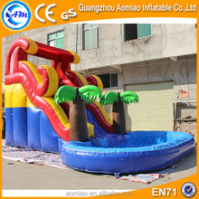 Aomiao cheap inflatable water slide pool,hippo inflatable water slide for sale