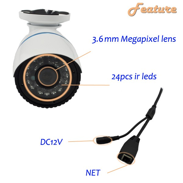 2016 Hot Sale!!! Cheap 1MP 720P HD P2P ONVIF CMOS 20M IR Waterproof IP Camera