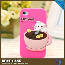 soft silicon cover diy 3d image back cover case for iphone 4