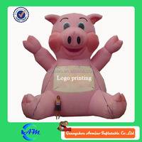 giant customized logo printing inflatable pig for advertising