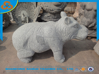 garden carved natural stone granite hippo animal sculpture statue