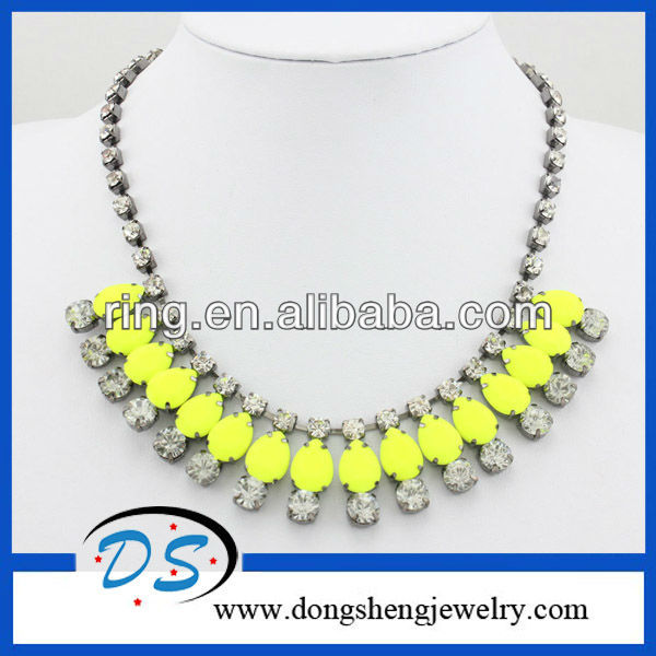 Neon Statement Necklace Yellow Acrylic Bib Necklace With Crystal