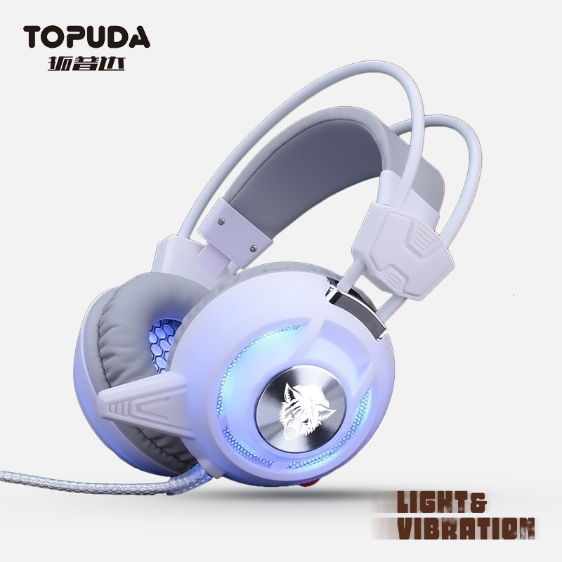 Professional funny cool led light vibration gaming headset for computer accessories