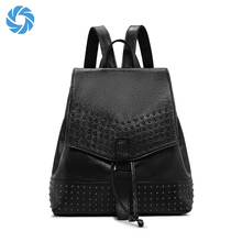 Genuine Leather Black Bag Custom Women Backpack