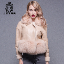 Women Short Style Russian Fur Coats Double Face Lamb Real Leather Jacket