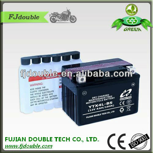 supplier maintenance free dry charged 12v 4ah motorcycle battery/lead acid battery