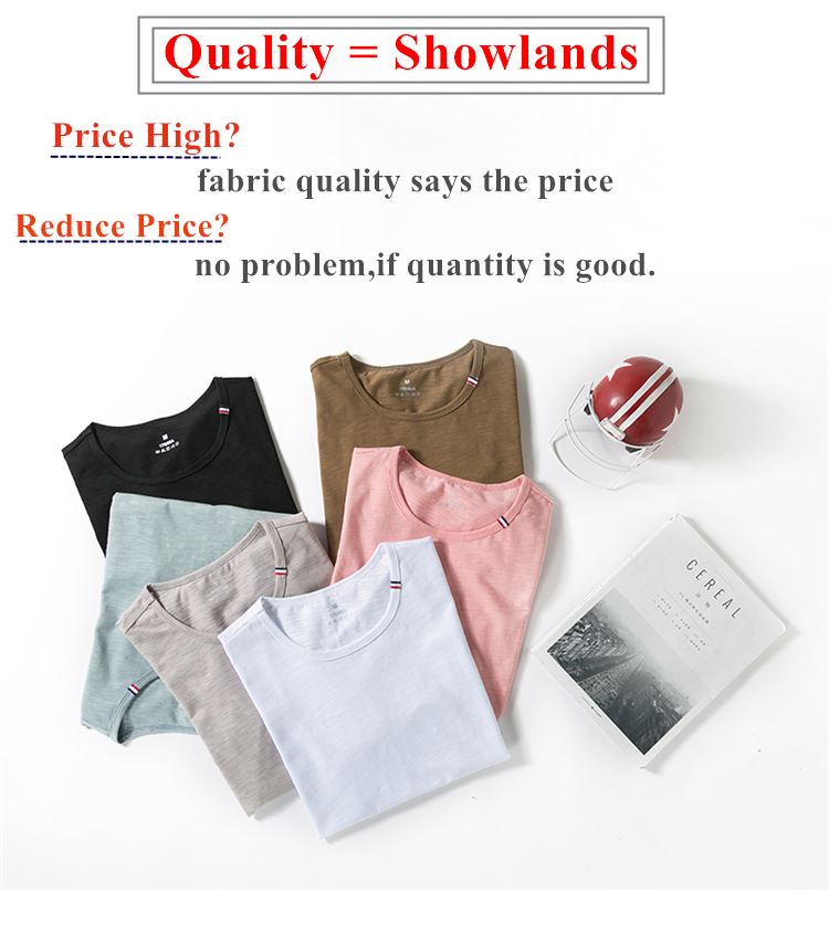 Showlands Men's Premium Bamboo/Cotton Plain T-Shirts in Bulk