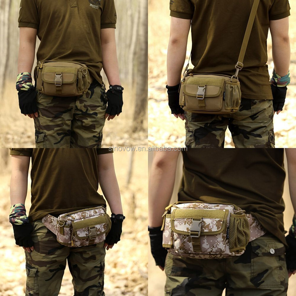 Multi functional Waist Pack, Military Single Shoulder Hip Belt Bag Water Resistant Waist Bag Pouch Hiking Climbing