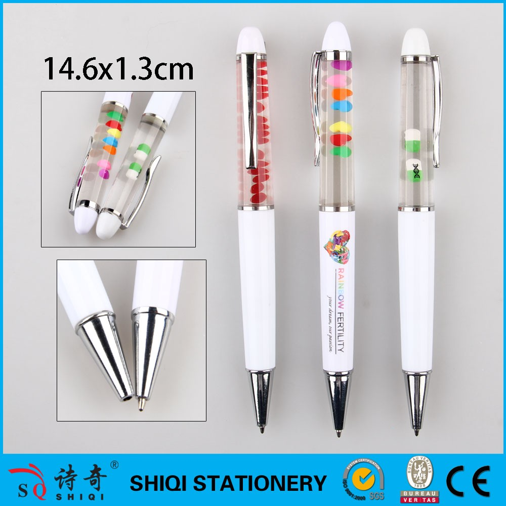SQ 2017 Promotional Liquid Floating Pen With 3D Or 2D Floater