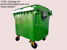 plastic hot saled garbage bin/waste container with 4 wheels