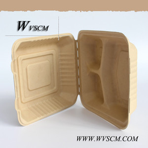 wheat straw based compostable disposable lunch boxes 3 compartments