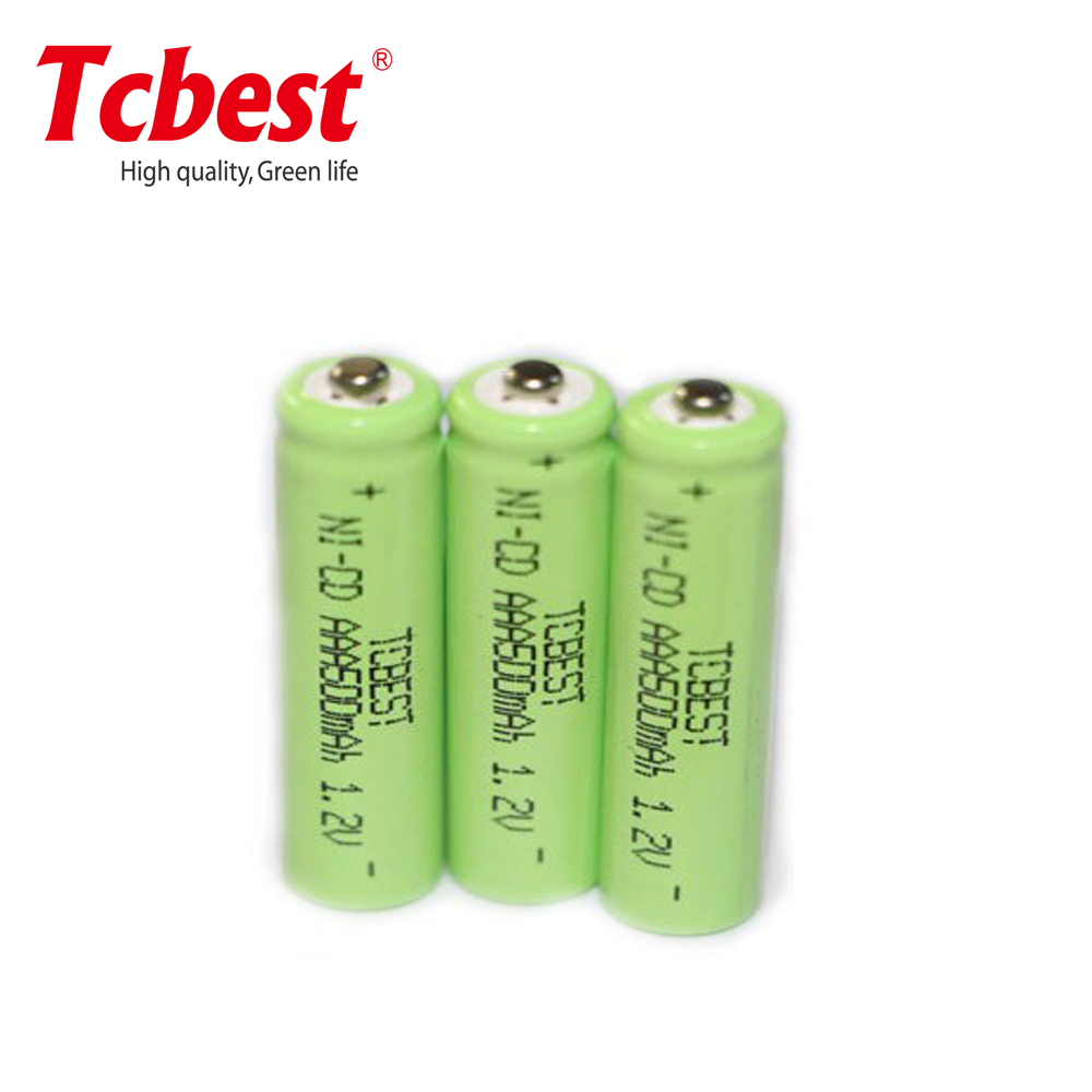 AAA 500mAh Ni-Cd 1.2V rechargeable nicd battery with solder tab