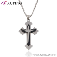 pendant-22-xuping fashion stainless steel jewelry, latest design layers steel cross pendants, no stone religious pendant