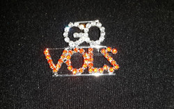 most fashionable brooch pin custom name pin rhinestone jewelry GO/VOLS Pin