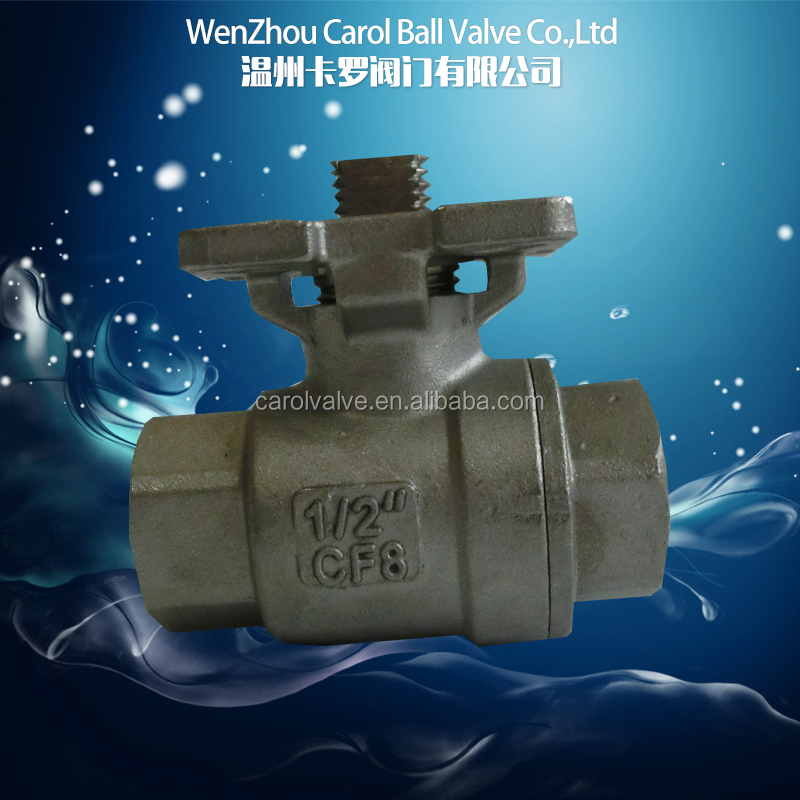 Screwed 1pc / 2pc /3pc carbon 1000PSI ball valve with high mounting pad