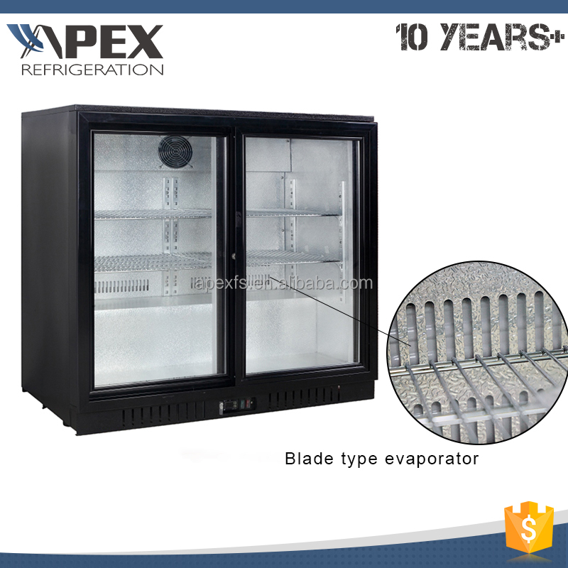 Direct cooling system upright glass door display beer cooler 210L capacity fridge back bar cooler