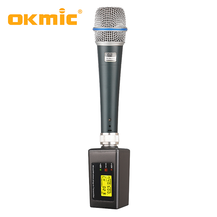 Professional plug on transmitter 48V phantom power microphone wireless xlr transmitter and receiver
