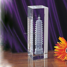 Hot sale simple design 3d laser engraving blank glass cubes awards crystal trophy