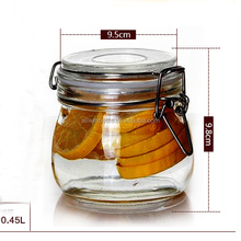 45ml 500ml flip lid glass candy/cookie food storage jars /hot sale flip lid glass jars