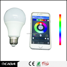 china suppliers E27 5w RGBW smart led color bulb, bluetooth controlled led light bulb
