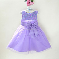 Sequins sleeveless children princess o-neck girls flowers dress high quality party dress kids wedding for girls L8906
