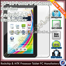 Hot 10.1 inch A20 dual core cheap oem android tablet 4.2