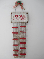 MDF Christmas Hanging with clips /wood Mdf Burlap wall Plaque/x/mas clip Hanging