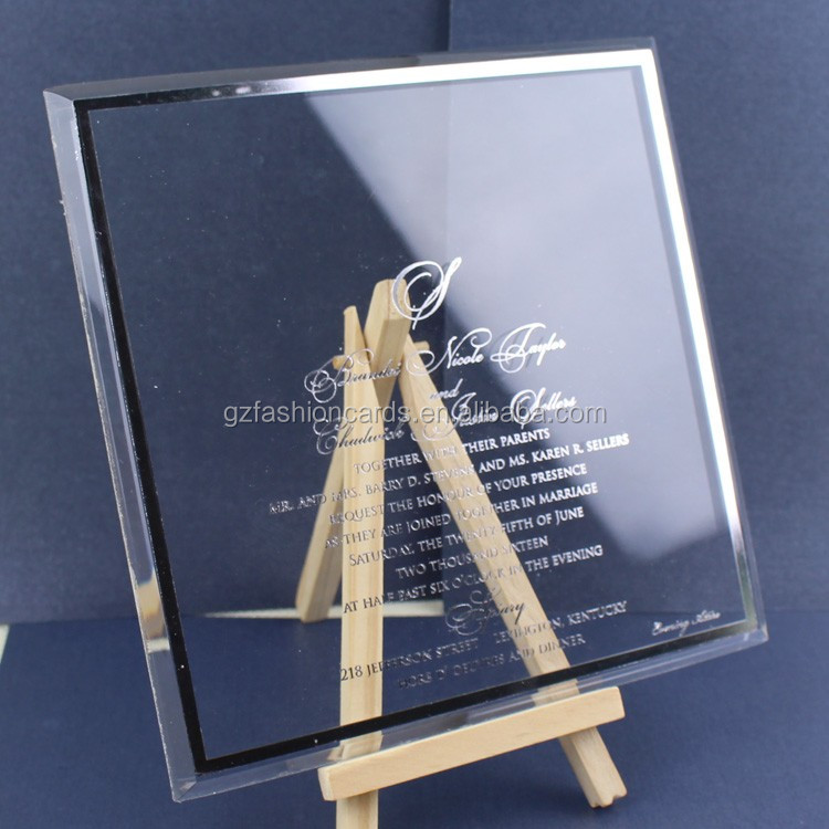2016 Excellent Quality Plexiglass Custom Black Acrylic Wedding Invitations with Silk Box