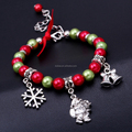 Christmas Charm Bracelet Baby Girls Children Cute Holiday Fun Christmas Santa Claus Stocking Snowman Pendant Stretch Bracelets