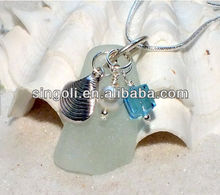 Sea Glass Beach Glass Necklace Pale Blue Lake Water opal shell pearl necklace