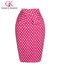 Grace Karin Occident Women Hips Wrapped Short Cotton Pencil Vintage Polka Dots Skirt CL008928-3