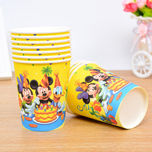HOT! 6pcs/lot Mickey Mouse Party Supplies Paperboard Cup kids Birthday Decoration Baby Shower For Kids Boys