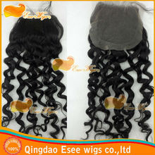 lace closure brazilian virgin hair deep weave style natural color,density 120%, DHL fast free shipping