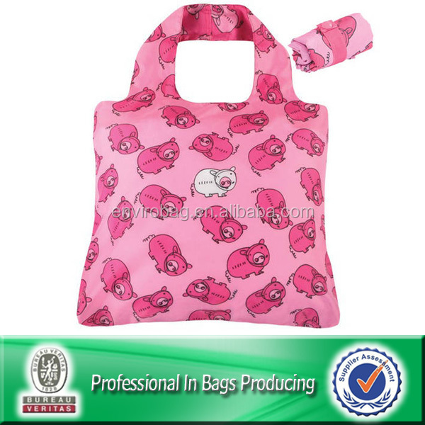 210D nylon foldable reusable shopping bag