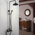 "8"" shower head Antique Brass Finish Bathroom Rainfall With Spray Shower Faucet Set"