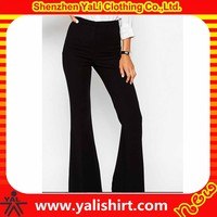 Custom fashion comfortable plain high waist cheap cotton chino fitness office ladies trouser cutting