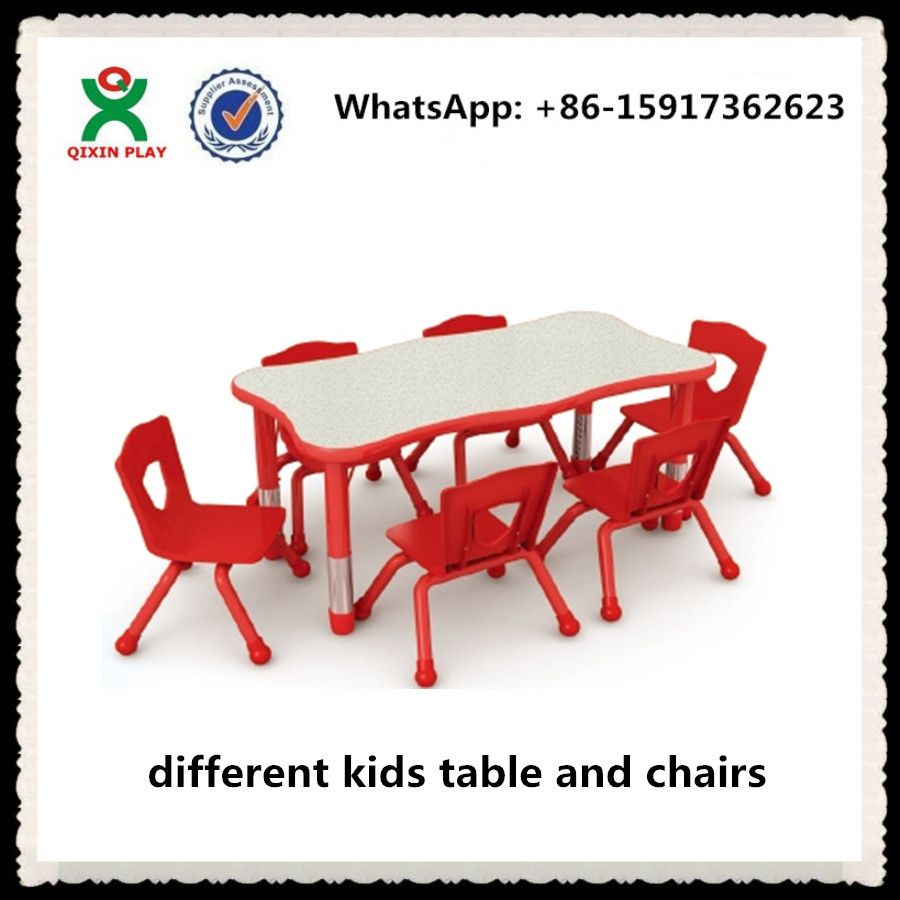 Newly hot sale kids activity table/ kids school tables and chairs/ height adjustable kids table and chair set/ QX-195B