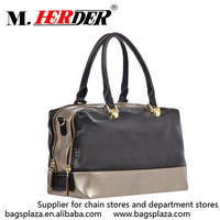 M7008 two tones two zipper open 100% real leather handbags cheap handbags