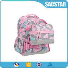 custom printed pink kids school bag sets with lunch bag