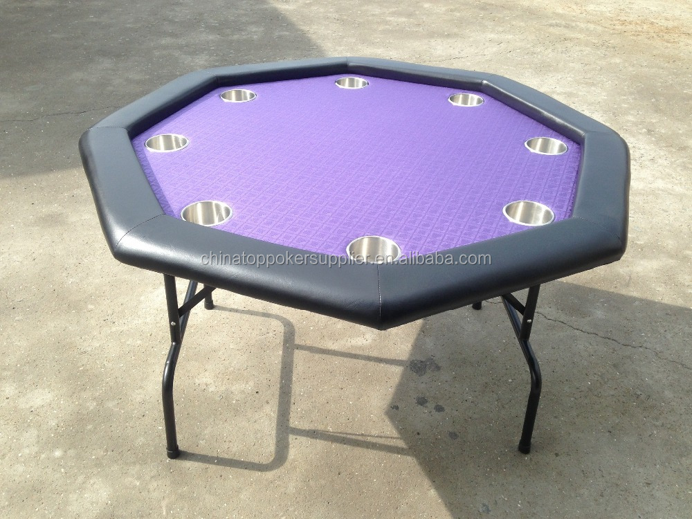 48inch octagonal metal folding legs poker table with 8 cup holders for sale
