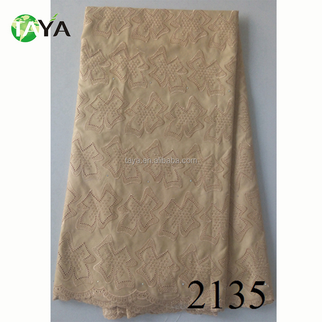 African men dress fabric polish cotton lace textiles in cream color