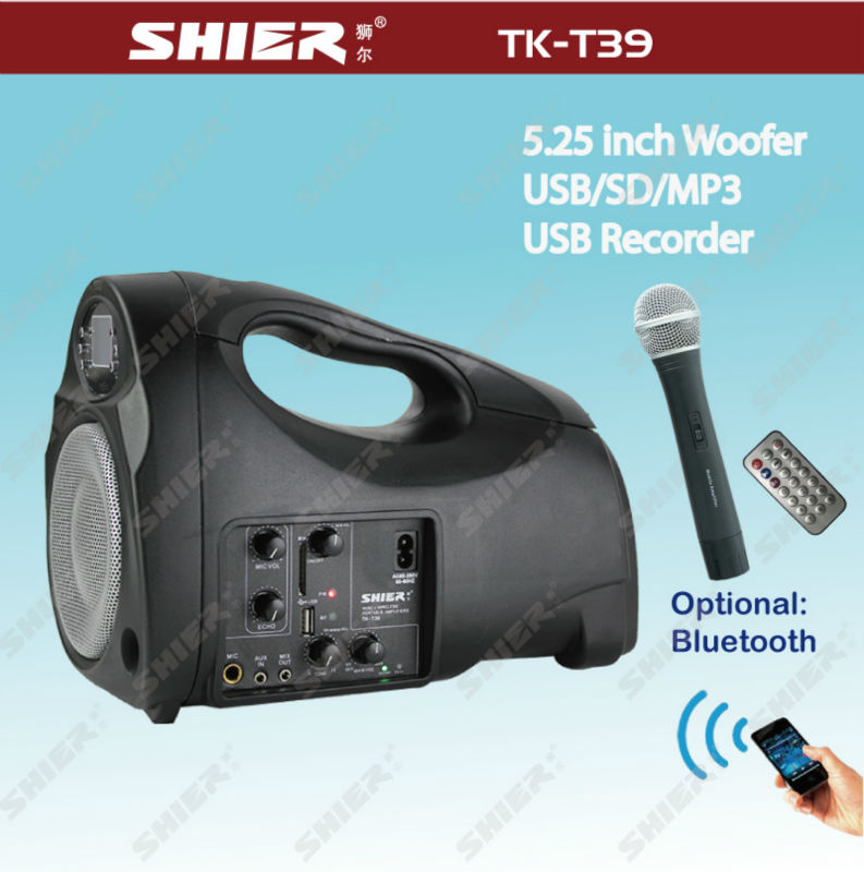 Rechargeable wireless micro stereo digital echo karaoke amplifier TK-T39