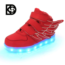 2016 the latest factory wholesale kids wings high top light up of led shoes