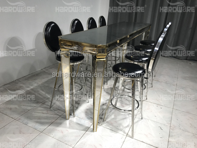 long mirrored glass high stainless steel legs bar table