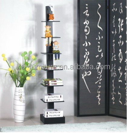 best price new design simple modern wood bookcase with ladder, wood stand shelf
