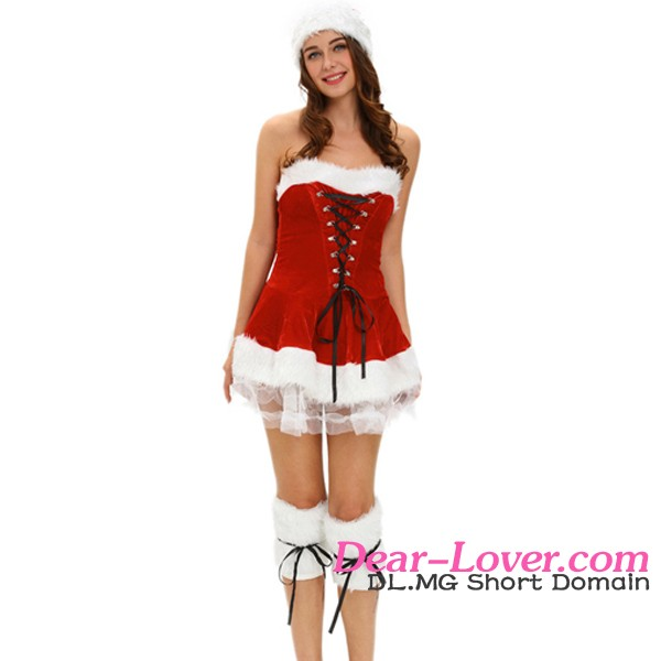 Top Selling 2016 Hot High Quality Three Piece Red Velvet Christmas Costume Women