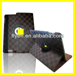 Ultra Thin Smart Cover Hot Selling Leather 360 for iPad Case Pocket Rotating Strong Magnet New Product Latticework Style