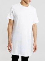 White Super Long Line T-Shirt wholesale China custom made t-shirts t shirts free delivery