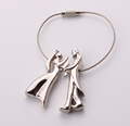 Metal Zinc Alloy Wrist Hey Holder with a Pair of Lovers for Wedding Favor